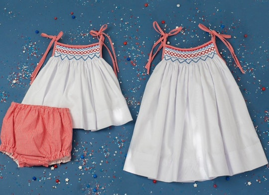 Image of toddler-size white smocked jumper and red bottoms, alongside a matching smocked jumper in a...