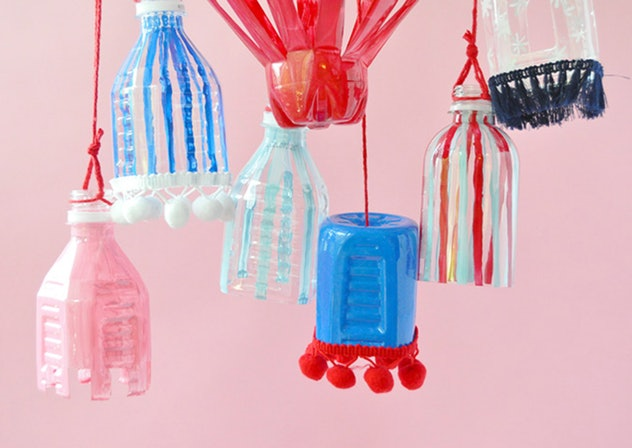 Plastic bottle lanterns are a fun 4th of July craft for kids.
