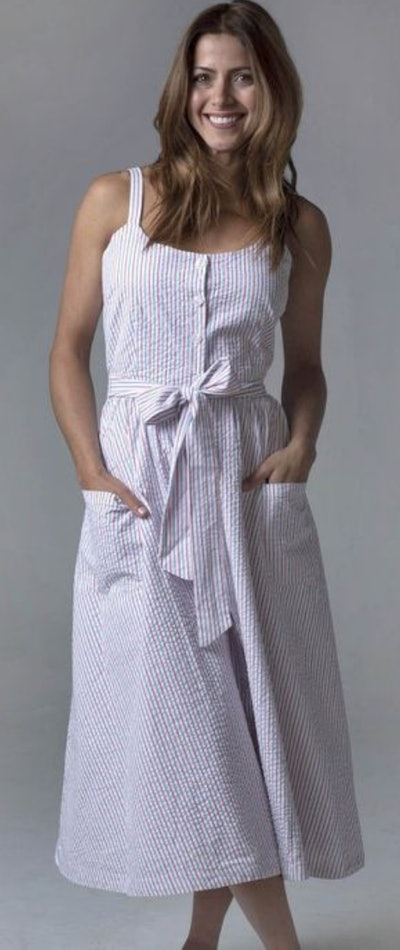 Hope & Henry Sleeveless Button Front Midi Dress With Pockets