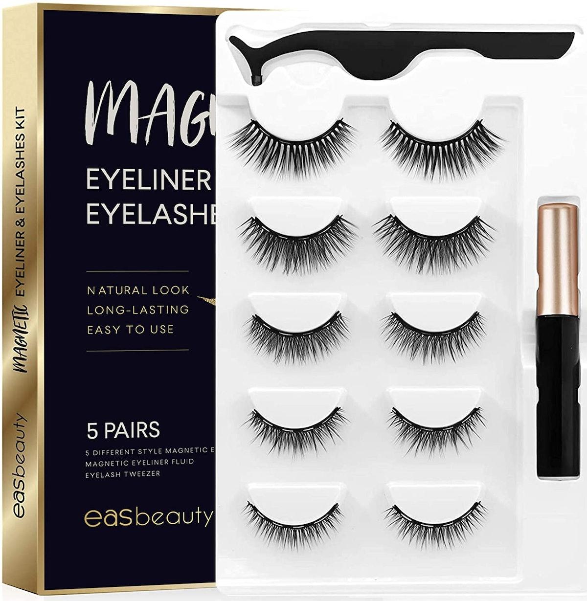 Easbeauty Magnetic Eyeliner & Eyelashes Kit (5 Pairs)