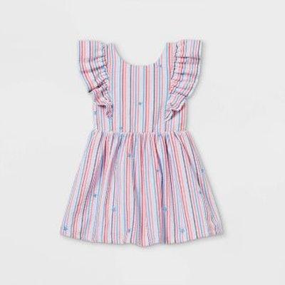 Cat & Jack Red/White/Blue Toddler Seersucker With Stars Ruffle Sleeve Dress