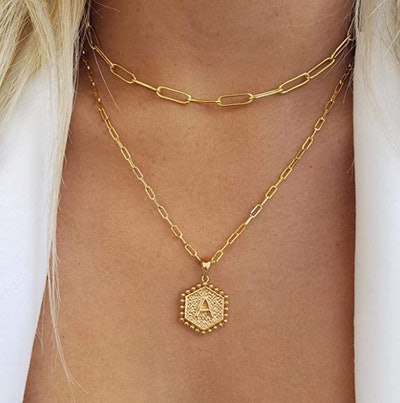 M MOOHAM Dainty Layered Initial Necklace