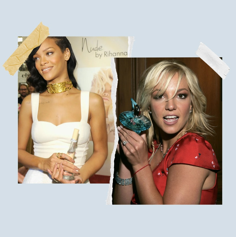 Rihanna with a bottle of Nude and Britney Spears with a bottle of Curious.