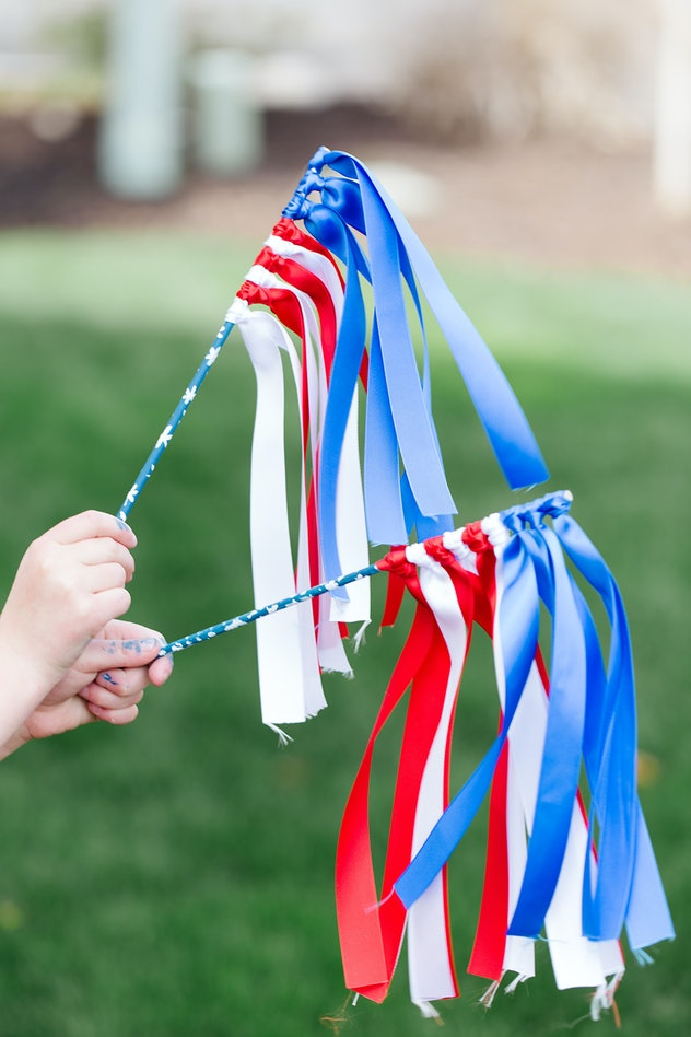 Ribbon wands are an easy 4th of July craft to make.