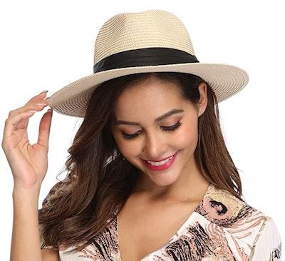 Lanzom Wide Brim Straw Sun Hat UPF 50+