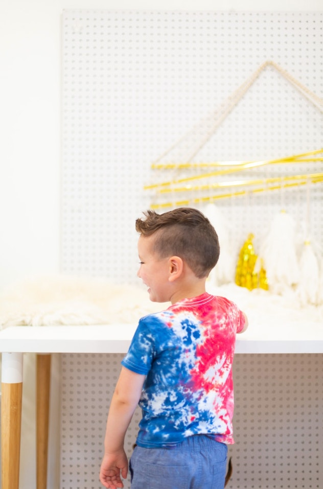 Tie-dye t-shirts are an easy 4th of July craft for kids to make.