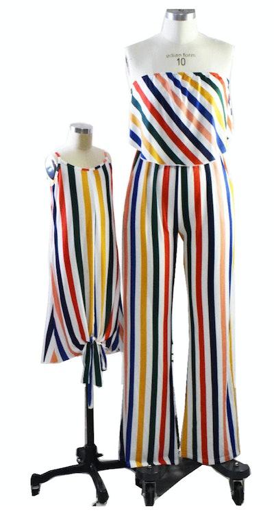 Stripe Off-shoulder Matching Jumpsuits