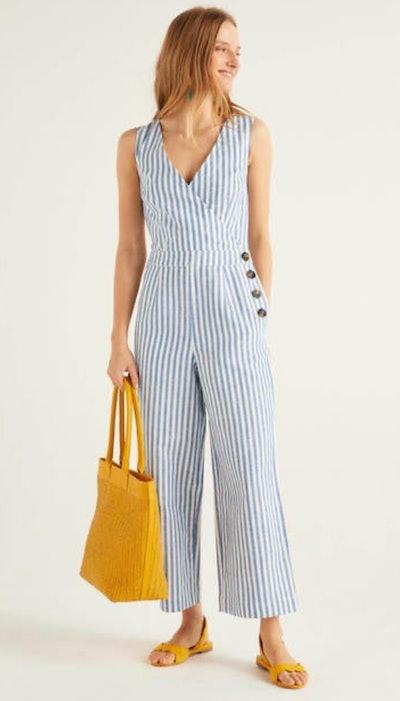 Dorothea Wrap Jumpsuit, Bold Blue Ivory Stripe