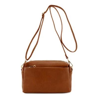 FashionPuzzle Triple Zip Crossbody Bag