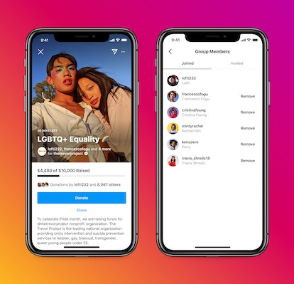 Friends create fundraiser together on Instagram with new feature.