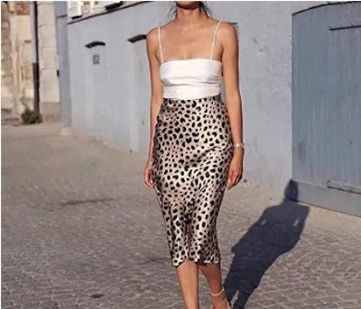 Soowalaoo Leopard Print Midi Skirt