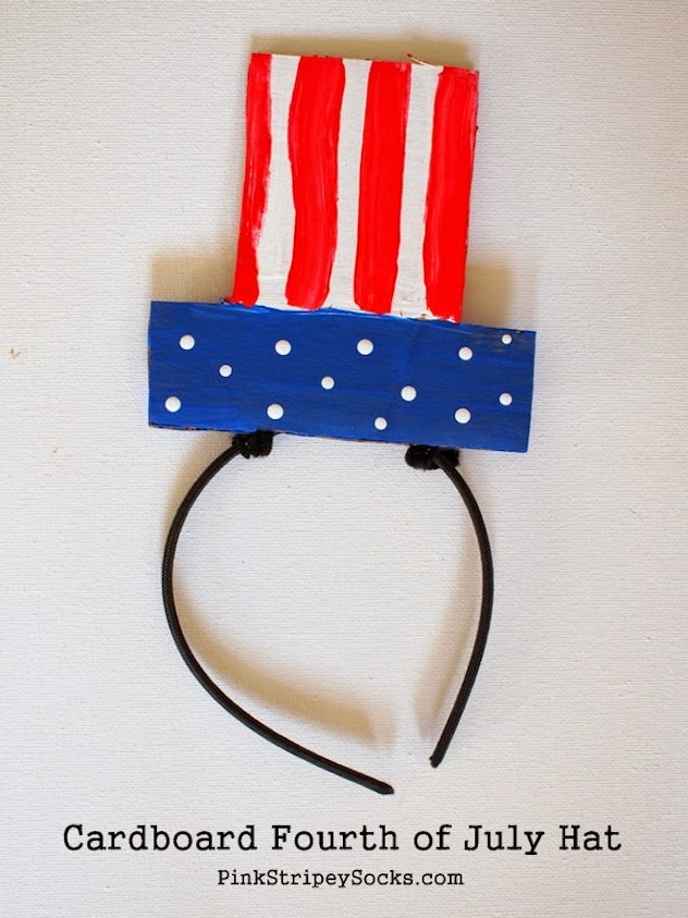 DIY cardboard hats are an easy 4th of July craft for kids.
