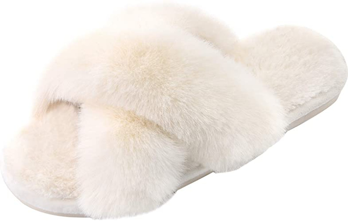 Parlovable Soft Plush Furry Cross Band Slippers