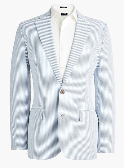 Slim Unstructured Thompson Suit Jacket in Seersucker
