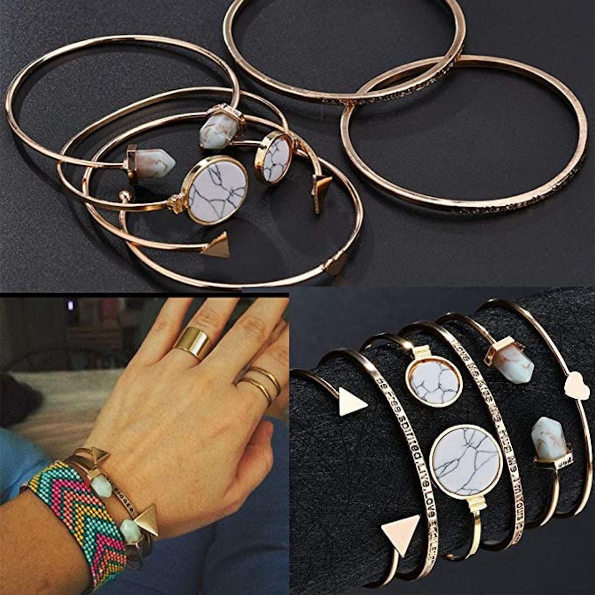 Yunanwa Multiple Layered Stackable Open Cuff Wrap Bangle Bracelets (23pcs)