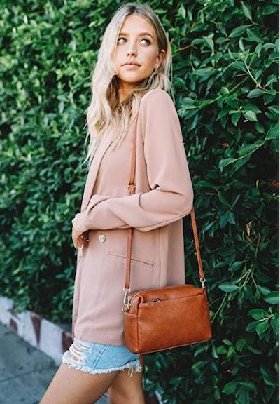 FashionPuzzle Triple-Zip Small Crossbody Bag