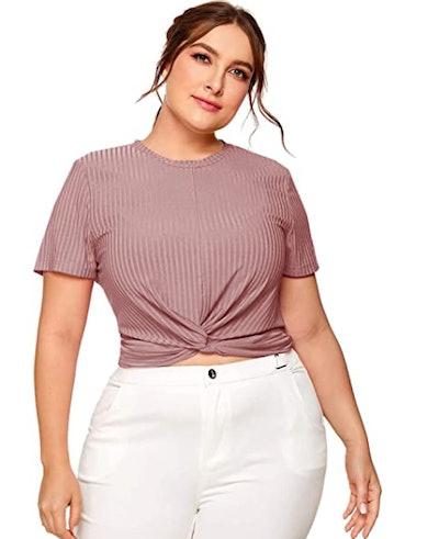 Romwe Front Twist T-Shirt