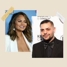 Side-by-side photos of Chrissy Teigen and Michael Costello