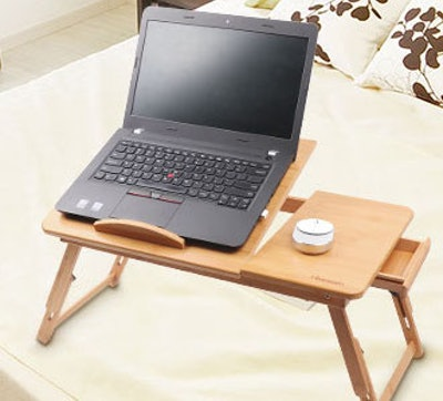 Hiveseen Bamboo Laptop Desk Table Tray