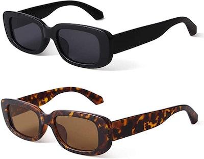 BUTABY Retro Rectangle Sunglasses (2-Pairs)