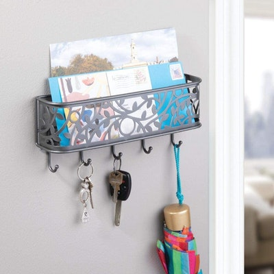 mDesign Wall Mount Entryway Mail Basket