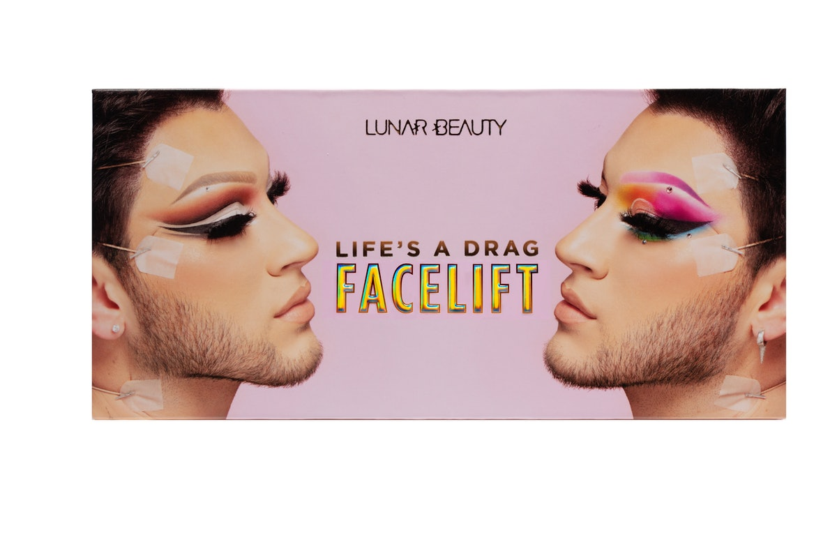 Manny Gutierrez, aka Manny MUA, posing in two drag looks on the cover of Lunar Beauty's new Life's A Drag Facelift palette.
