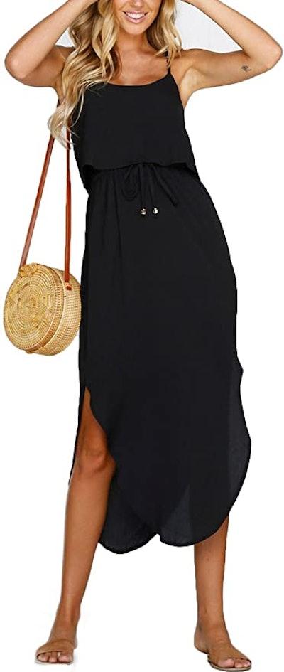 NERLEROLIAN Adjustable Side Split Midi Dress