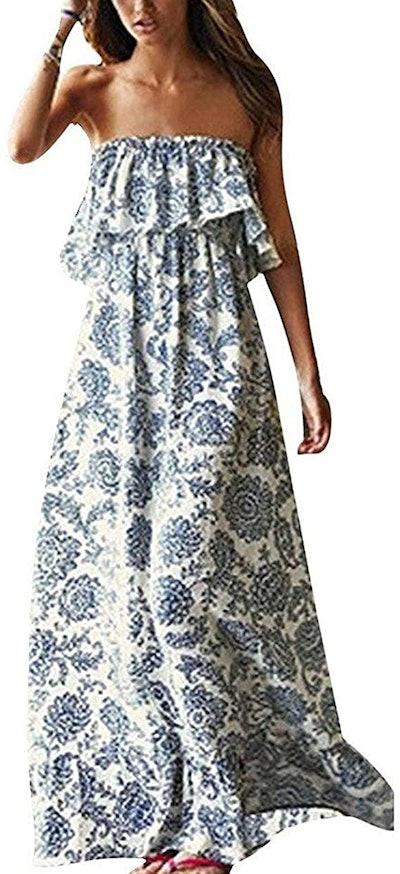 Yidarton Blue & White Porcelain Strapless Maxi Dress