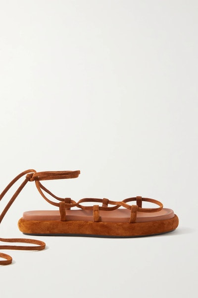 Alba Leather-Trimmed Suede Sandals