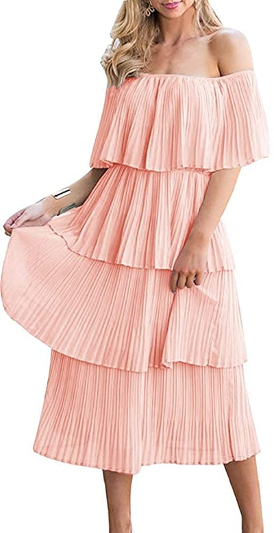 ETCYY Off The Shoulder Tiered Maxi Dress