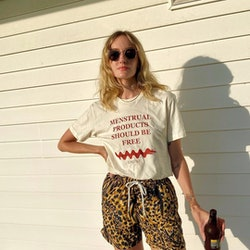 Hannah Baxter wearing leopard swim trunks outfit