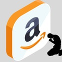 Man kneeling in front of Amazon logo