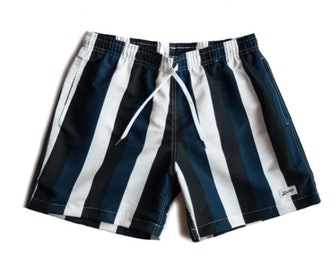 Blue & Black Striped Swim Trunk