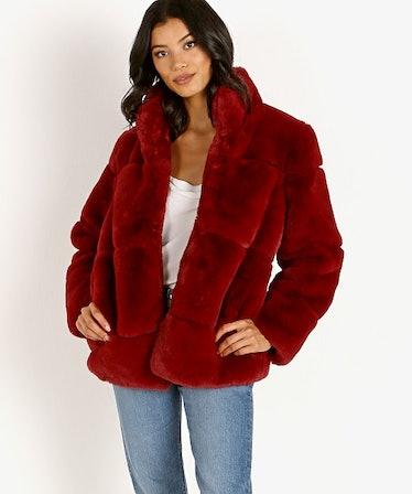 Sarah Faux Fur Jacket Ruby Red