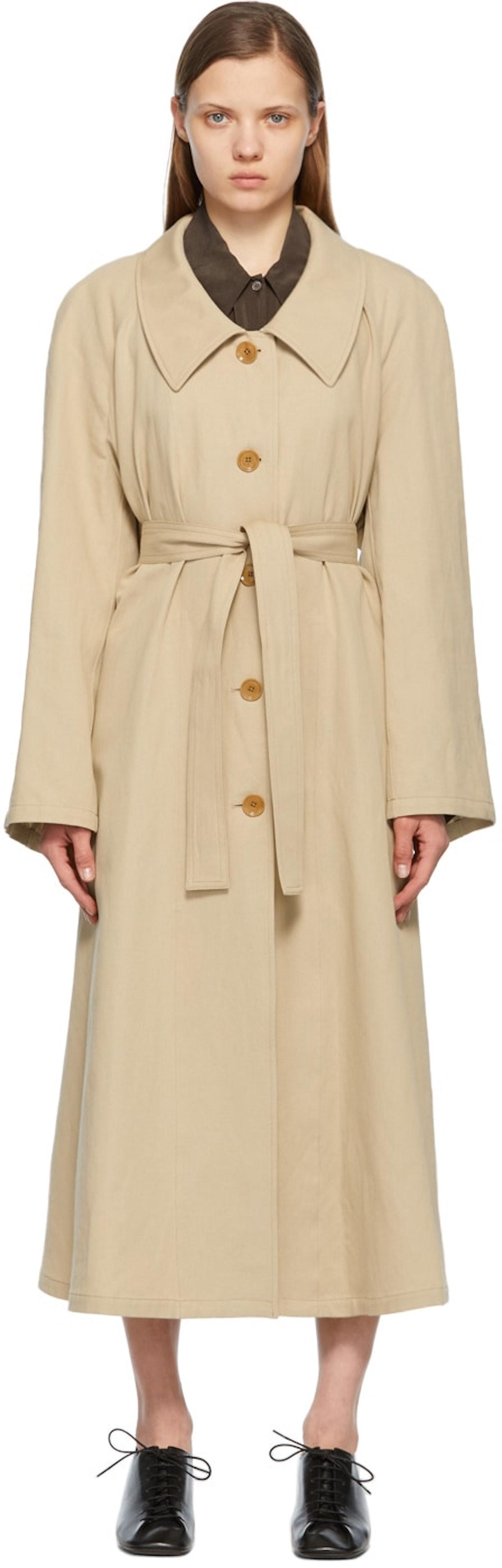 Beige Linen Trench Coat