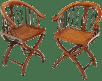 1970s Teak Horseshoe Back Lounge Chairs