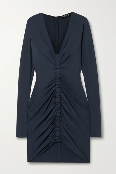 Ruched Stretch-Jersey Mini Dress