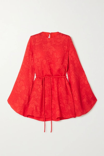 Crinkled Silk-Jacquard Mini Dress