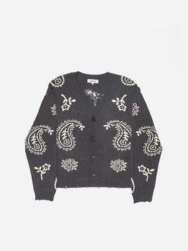 Knit Paisley Cardigan Sweater In Dark Gray
