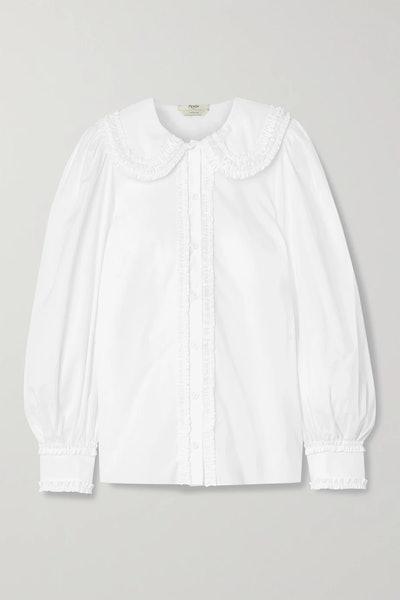 Ruffled Cotton-Poplin Shirt