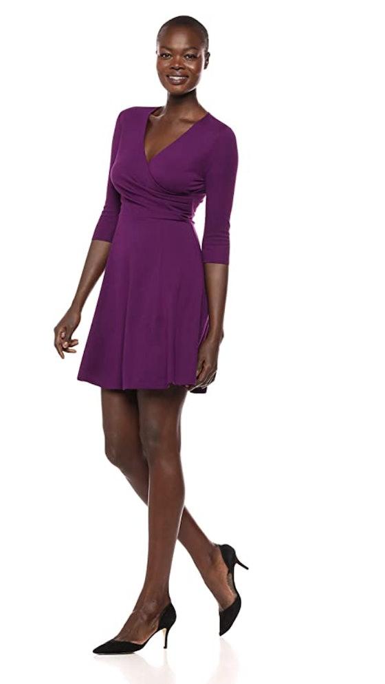 Lark & Ro Women's 3/4 Sleeve Faux Wrap Dress