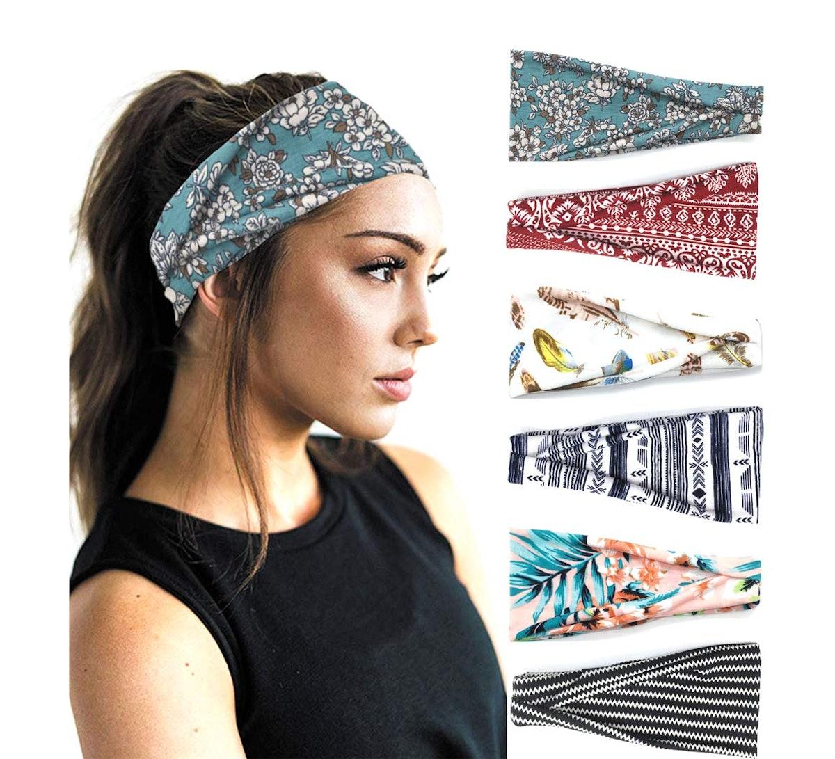 PLOVZ Workout Headbands (6 Pack)