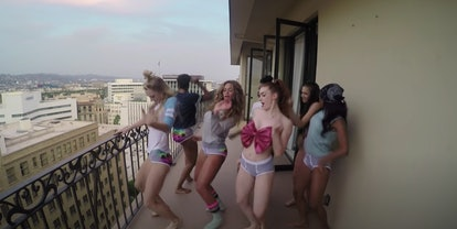 """Beyonce and her gal pals dance on a balcony in the video for """"7/11."""""""