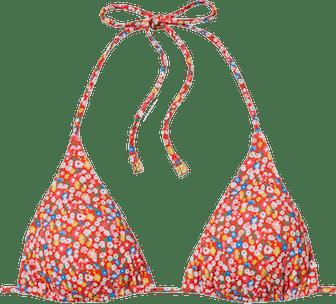 Printed String Bikini Top
