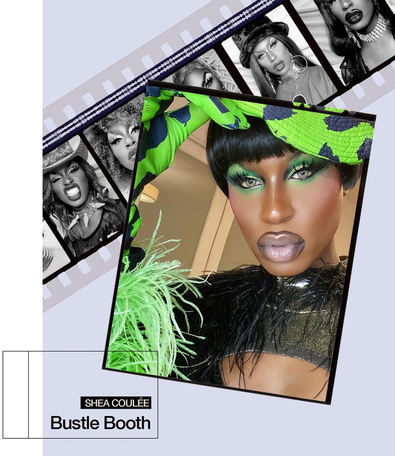 Shea Couleé poses for a selfie in a green and black look.