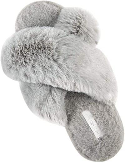 HALLUCI Cross Band Plush Fleece Indoor/Outdoor Slippers
