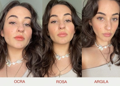 three photos of Isabella wearing the lip balm: the first photo is in the shade Ocra, the second phot...