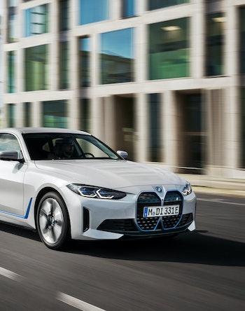 The BMW i4 electric sedan. EV. Electric vehicles. EVs. Cars. Automotive.