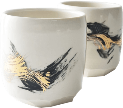 BLACK AND GOLD ALTERED TUMBLER