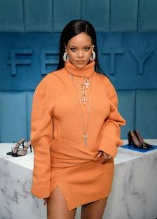 Rihanna wearing orange Fenty